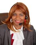 Afroamerikaner-Frauen-tragender Kopfhörer Stockbild