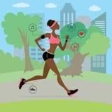Afroamerikaner jung und dünne Frau, die in den Park läuft, vektor abbildung