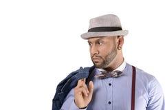 Afroamerikaner-junger Mann-Mode-Modell im Hut stockfotografie