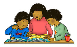 Afroamerikaner/karibische Kinder, die Atlas lesen lizenzfreie abbildung