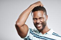Afroamerikaner-Mann-enttäuschtes Porträt Lizenzfreie Stockfotografie