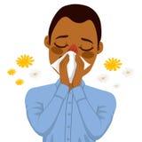 Afroamerikaner-Mann-leidende Allergie Lizenzfreies Stockfoto