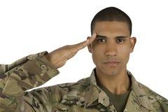 Afroamerikaner-Soldat-Begrüßung Stockfotografie