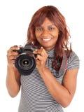 Afroamerikaner-weiblicher Fotograf, der Sie schießt stockbild
