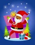 Afroamerikaner-Weihnachtsmann-Karte Stockbild