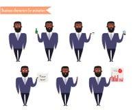 Afroamerikanercharakter für Szenen Teile der Körperschablone für Animation Lizenzfreies Stockfoto