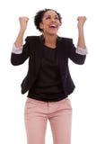 Afroamerikanerfrau, die Erfolg feiert Stockfoto