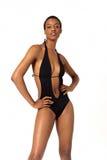 Afroamerikanerfrau im Badeanzug Stockfoto