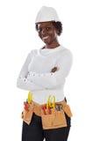 Afroamerikanerfrau mit Sturzhelm und Gurt von auch Lizenzfreie Stockbilder