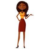 Afroamerikanerfrauen Attraktive junge Dame, die etwas flache Karikaturvektorillustration darstellt EPS10 Lokalisiert auf einem we Lizenzfreie Stockfotografie