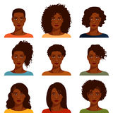 Afroamerikanerfrauen mit verschiedener Frisur Stockbild