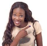 Afroamerikanerfrauenzeigen stockfoto