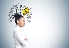 Afroamerikanergeschäftsfrau, Idee, Fragen stockfoto