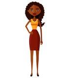 Afroamerikanergeschäftsmädchen Fokussierte afrikanische Geschäftsfrau Lizenzfreies Stockfoto