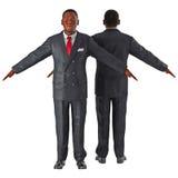 AfroamerikanerGeschäftsmann lokalisiert auf weißer Illustration 3D Lizenzfreies Stockfoto