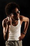 Afroamerikanermann mit Fluglage Lizenzfreie Stockfotografie