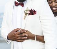 Afroamerikanerpaare, die in einer Insel heiraten stockfoto