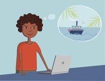 afroamerykański czarny facet blisko laptopu myśleć  Obraz Stock