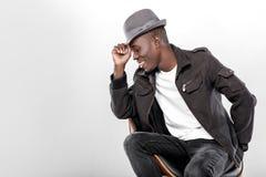 afroamerykański mężczyzna w kapeluszu zdjęcie stock