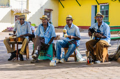 Afrocuban musicans playing in Trinidad, Cuba Royalty Free Stock Photo