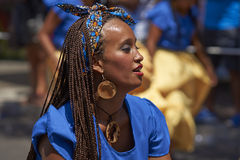 Afrodescendiente Dancer - Arica, Chile. Dancer from a group of dancers of Africa descent (Afrodescendiente) performing at the annual Carnaval Andino con la stock photo
