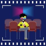Afroe-amerikanisch Mannuhr ein Film in den Gläsern 3D Lizenzfreie Abbildung