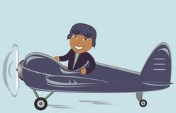 Afroer-amerikanisch Pilot im Flugzeug vektor abbildung