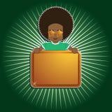 Afrojungen-Holdingzeichen Lizenzfreies Stockbild