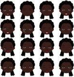 Afromädchengefühle: Freude, Überraschung, Furcht, Traurigkeit, Sorge, schreiend Stockbild
