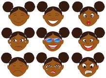 Afromeisje Emoticon Emoji stock illustratie