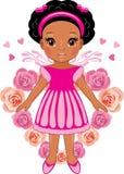 Afromeisje op de achtergrond van het hart van roze rozen stock illustratie