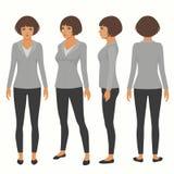 afronte, trasera y lateral vista de la secretaria ilustración del vector
