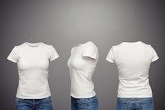 Camiseta femenina en blanco Fotos de archivo