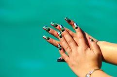 Afryce akrylowy manicure paznokci na południe Fotografia Stock