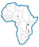 afryce mapa Zdjęcia Stock