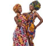 Afrykańscy kobieta modele pozuje w sukniach zdjęcia royalty free