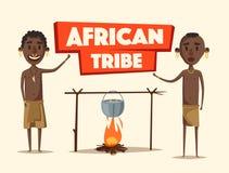afrykańscy ludzie Miejscowi południe - amerykanin obcy kreskówki kota ucieczek ilustraci dachu wektor Zdjęcia Stock