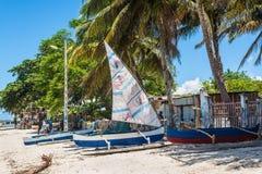 Afrykańscy rybacy wewnątrz i tradycyjny malagasy drewniany łódkowaty piroga fotografia royalty free