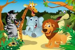 Afrykańscy zwierzęta w dżungli ilustracji