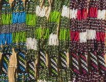 Afrykańska etniczna handmade koralik kolia Lokalny rzemiosło rynek afryce kanonkop słynnych góry do południowego malowniczego win Obrazy Royalty Free