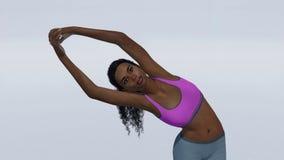 Afrykańska kobieta w przyrodniej księżyc joga pozy zakończeniu up ilustracja wektor