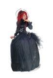 Afrykańska kobieta w Wiktoriańskiej czerni sukni Zdjęcie Royalty Free