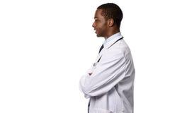 Afrykańska samiec lekarka w Bocznym widoku Odizolowywającym na bielu Zdjęcia Stock