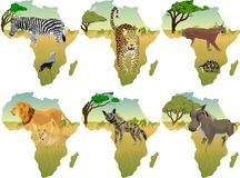Afrykańska sawanna z różnymi zwierzętami - wektorowa ilustracja ilustracji