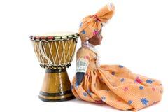 Afrykański bęben i afrykanin lala Obraz Royalty Free