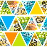 Afrykański batikowy tropikalny bezszwowy wzór Abstrakcjonistyczny lata decorat ilustracji