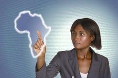 Afrykański biznesowej kobiety IT cyfrowy tło Obrazy Stock