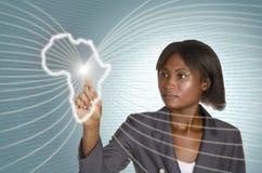 Afrykański biznesowej kobiety IT cyfrowy tło Zdjęcie Stock