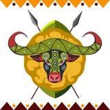 Afrykański bizon Afryka zwierzę w koloru wzoru wektoru ilustraci Zdjęcia Royalty Free