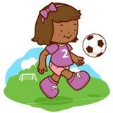 Afrykański dziewczyna gracz piłki nożnej ilustracja wektor